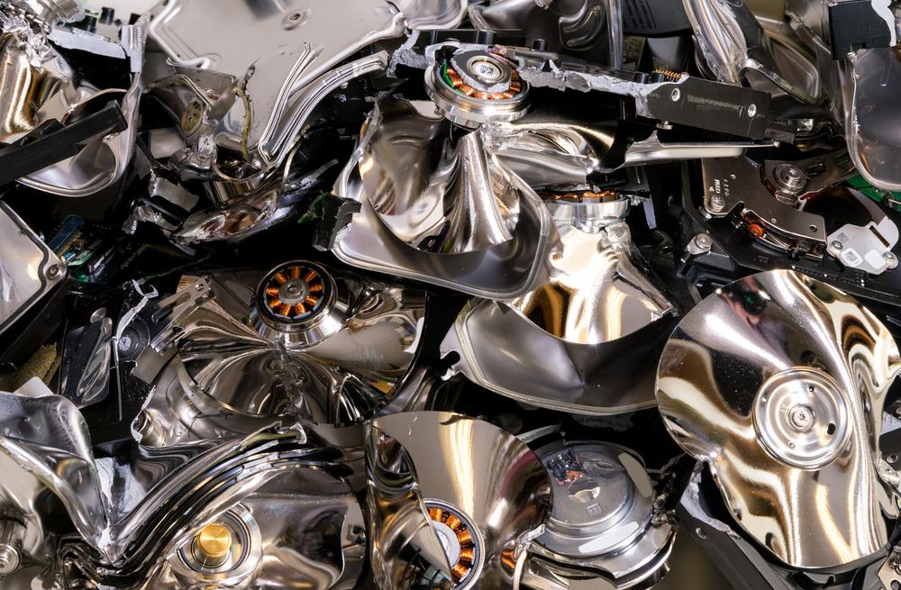 Pile of destroyed hard drives